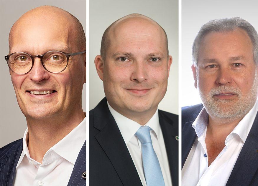 Peter B. Mikkelsen, Daniel Hunger und Peter Martin (von links nach rechts) übernehmen innerhalb der Steigenberger Hotels & Resorts neue Positionen