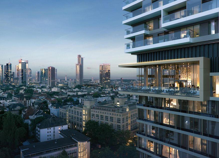 Das Meliá Frankfurt City Hotel im neuen Hybridturm One Forty West in Frankfurt am Main. Das Gebäude ist eine Kombination aus dem Hotel und Wohnungen