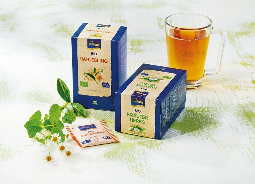 Meßmer ProfiLine Hotellerie Gastronomie neue Sorten Bio UTZ zertifiziert Range Darjeeling Kräuter Zitrone Linde Beeren