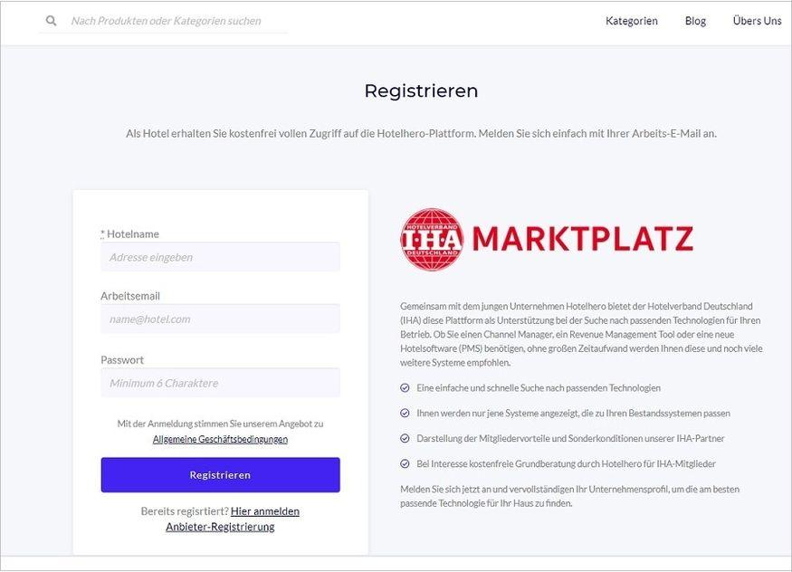 Screenshot IHA Hotelhero Marktplatz
