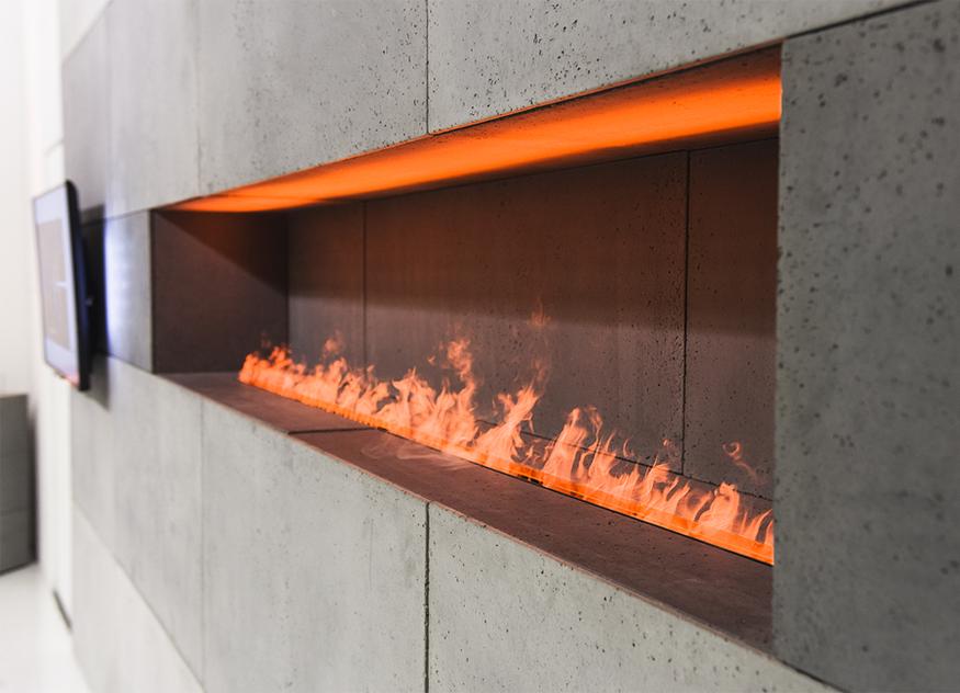 Die myfirebox von efecto ist eine Feuerstelle mit Ambientefeuer, sie benötigt lediglich eine Steckdose und Wasser für den Tank zur Verwendung