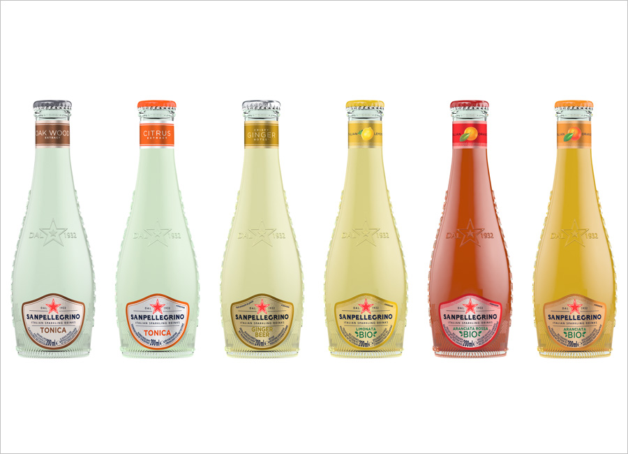 Sanpellegrino Hotellerie Gastronomie Getränk Range Sorte neu Tonica Oak Citrus Ginger Beer Limonata Bio Aranciata Rossa Flasche