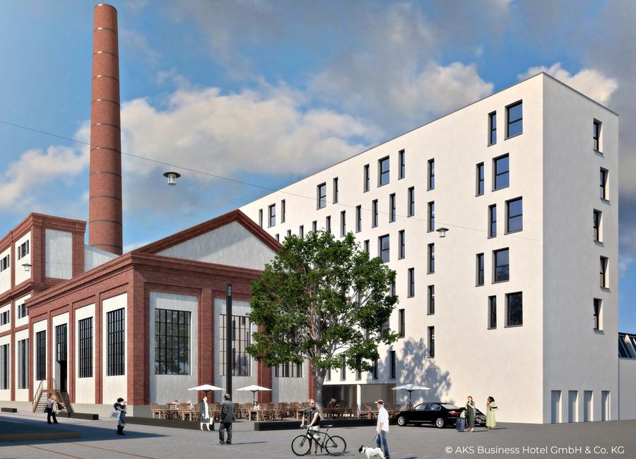 Das ehemalige Kesselhaus in Augsburg wird ein LOGINN Hotel by ACHAT und wird im Mai 2022 eröffnet